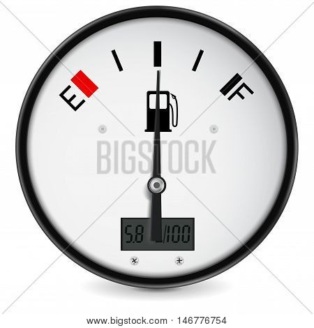 Fuel gauge. Half tanked. Vector illustration isolated on white background