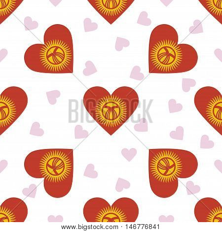 Kyrgyzstan Independence Day Seamless Pattern. Patriotic Background With Country National Flag In The