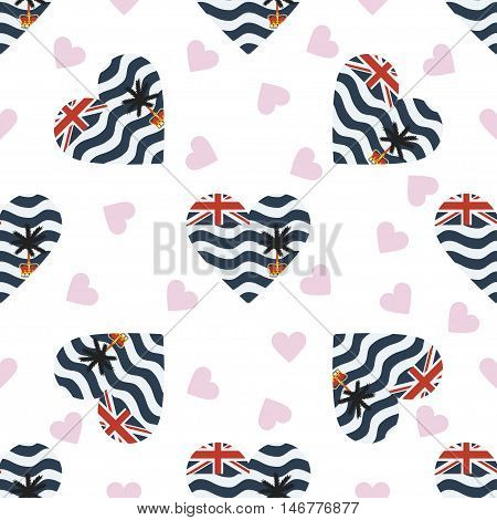 British Indian Ocean Territory Independence Day Seamless Pattern. Patriotic Background With Country