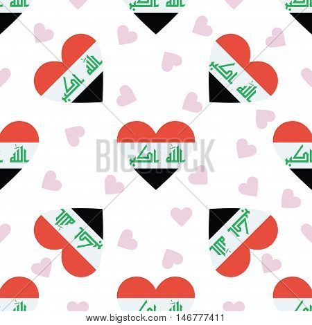 Iraq Independence Day Seamless Pattern. Patriotic Background With Country National Flag In The Shape