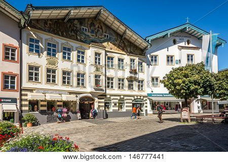 BAD TOLZ, GERMANY - AUGUST 25,2016 - On the Marktstreet in Bad Tolz. Bad Tolz is known for its spas historic medieval town and spectacular views of the Alps.