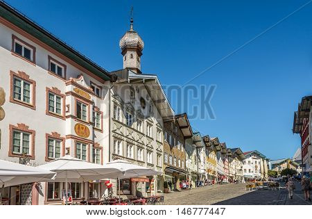 BAD TOLZ, GERMANY - AUGUST 25,2016 - In the streets of Bad Tolz.Bad Tolz is known for its spas historic medieval town and spectacular views of the Alps.