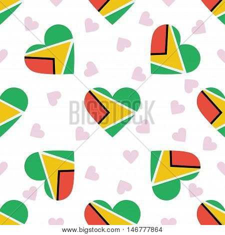 Guyana Independence Day Seamless Pattern. Patriotic Background With Country National Flag In The Sha