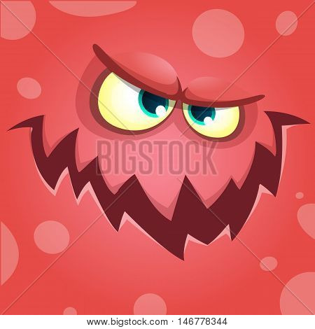 Cartoon screaming monster face. Vector Halloween red angry monster avatar