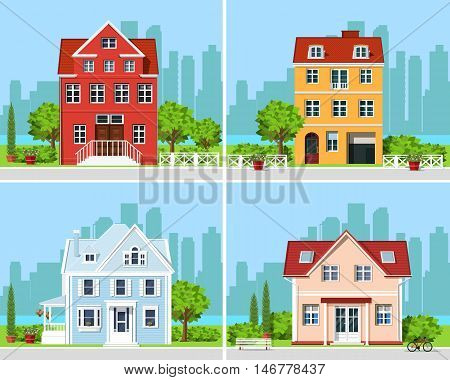 Set of detailed colorful modern cottage houses with trees and city background. Flat style graphic buildings. Vector illustration.