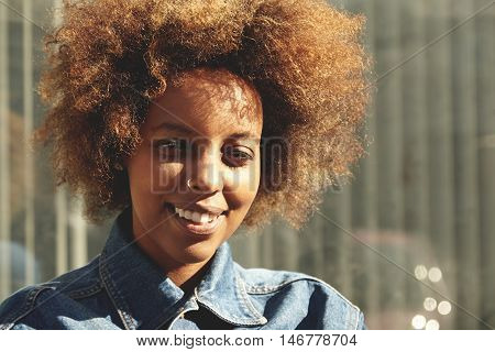People And Lifestyle Concept. Hipster African Girl Wearing Trendy Clothes Looking Amd Smiling At Cam