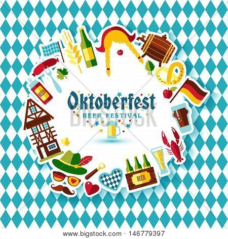 Flat Design Vector Illustration With Oktoberfest Celebration Symbols. Oktoberfest Celebration Design