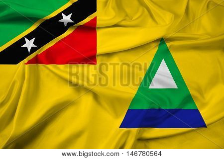 Waving Flag Of Nevis, Saint Kitts And Nevis