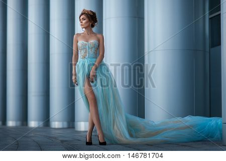 Girl in a magnificent dress among the columns crown on his head.