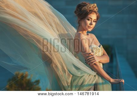 Portrait of a girl in a fluttering gown of Queen.
