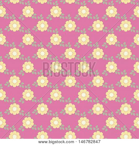 Tiny cute flower pattern background over pink
