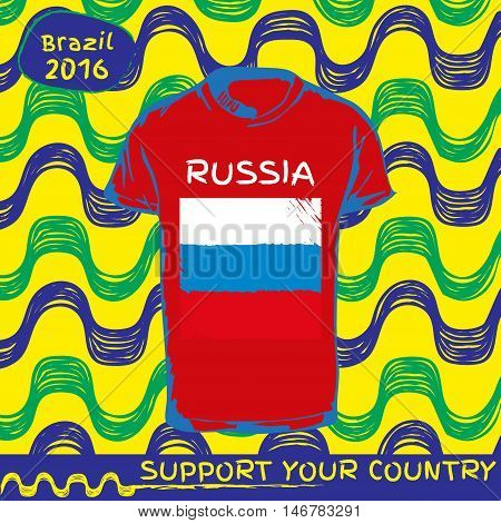 Hand drawn vector. vector pattern with t-shirt with country flag. Support your country.  National flag. Russia