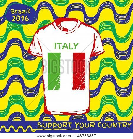 Hand drawn vector. vector pattern with t-shirt with country flag. Support your country. National flag. Italy