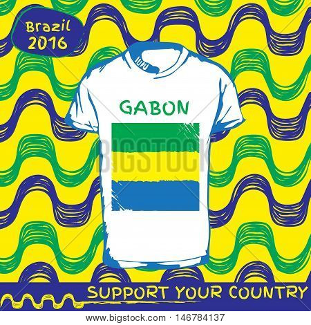Hand drawn vector. vector pattern with t-shirt with country flag. Support your country. National flag. Gabon