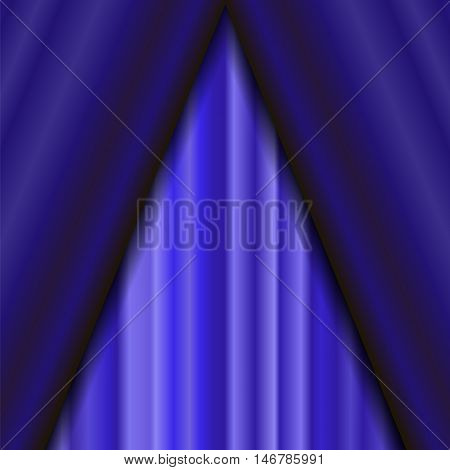 Vector Cinema Closed Blue Curtain. Blue Textile Pattern. Cinema Stage.