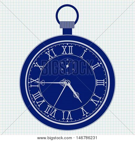 Pocket watch. Blue outline icon on notebook sheet background