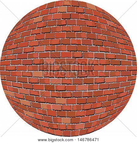 Brick ball - Illustration, Sphere with a brick wall texture,  Wall of bricks in circle
