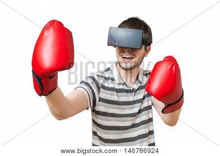 Man Is Boxing In 3D Virtual Reality Video Game With Vr Hradset.