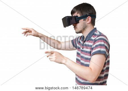 Man Is Wearing Vr Glasses And Touching Something. Isolated On Wh