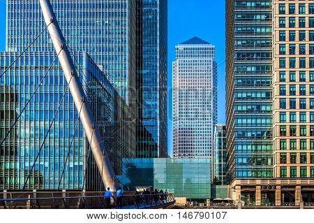 South Quay footbridge in Canary Wharf financial district of London