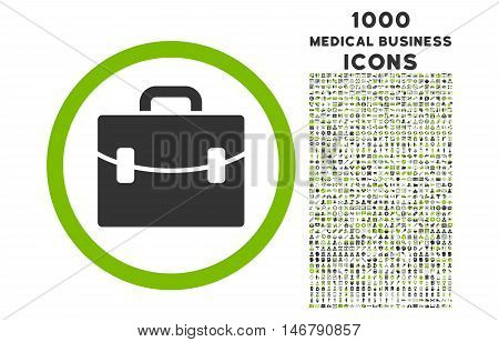 Case rounded vector bicolor icon with 1000 medical business icons. Set style is flat pictograms, eco green and gray colors, white background.