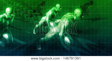 Change Management with Businessmen Running in a Race 3D Render