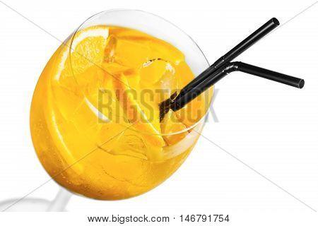 Set of alcoholic cocktails isolated on white background