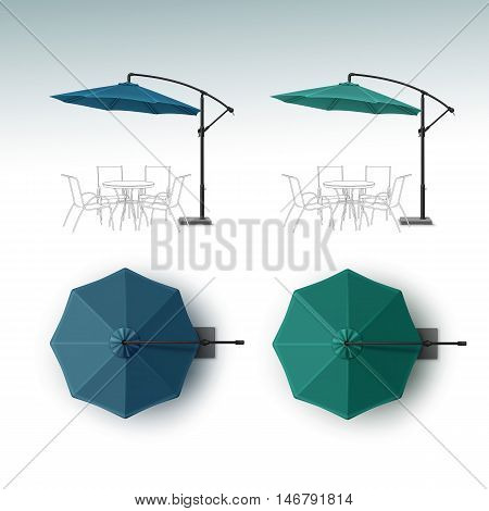 Vector Set of Blue Green Blank Patio Outdoor Beach Cafe Bar Pub Lounge Restaurant Round Umbrella Parasol for Branding Top Side View Mock up Close up Isolated on White Background