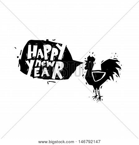 New Year's cock crows. Black on white, lettering. Flat design vector illustration.