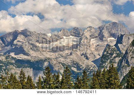 Dachstein massif from the north-west with Gosau glacier