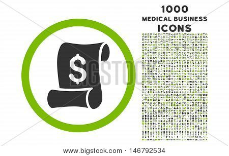 Financial Receipt Roll rounded vector bicolor icon with 1000 medical business icons. Set style is flat pictograms, eco green and gray colors, white background.