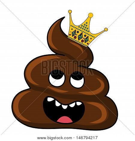 Vector image of brown Shit with crown. Cartoon stration EPS
