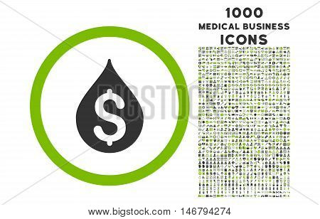 Money Drop rounded vector bicolor icon with 1000 medical business icons. Set style is flat pictograms, eco green and gray colors, white background.