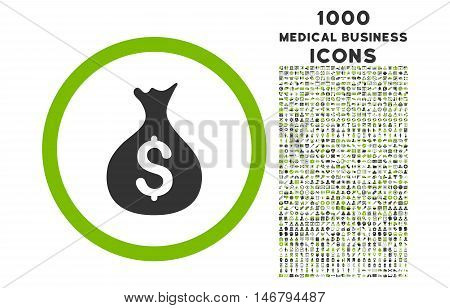 Money Sack rounded vector bicolor icon with 1000 medical business icons. Set style is flat pictograms, eco green and gray colors, white background.