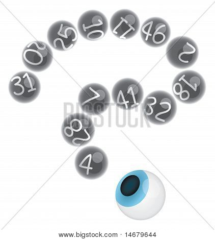Lottery Balls With Numbers In A Shape Of Question Mark And Eye Ball Looking At Them