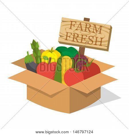 Organic food basket. Basket with fresh organic food and sign. Organic vegetable basket. Food vector illustration
