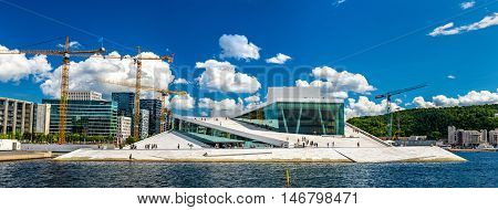 Oslo, Norway - July 9, 2016: View of the Oslo Opera House. It is the home of The Norwegian National Opera and Ballet, and the national opera theatre in Norway