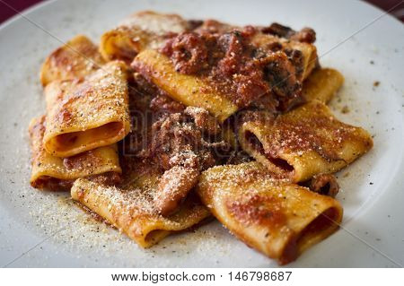 Pasta called mezze maniche with tomato souce and seafruit