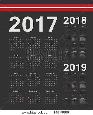 Set Of Black Latvian 2017, 2018, 2019 Year Vector Calendars