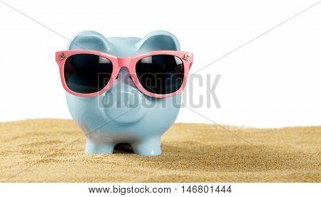 Piggy Bank Wearing Sunglasses At The Beach
