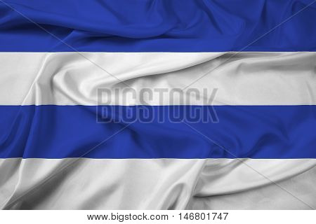 Waving Flag of Oslo Norway 1924-2000, with beautiful satin background. 3D illustration