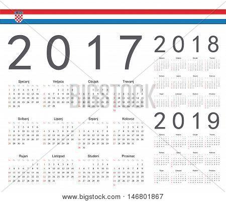 Set Of Croatian 2017, 2018, 2019 Year Vector Calendars