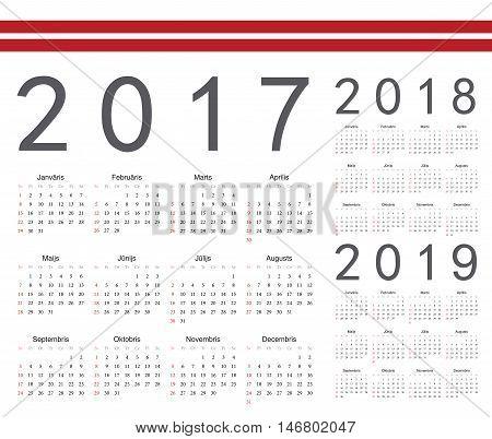 Set Of Latvian 2017, 2018, 2019 Year Vector Calendars