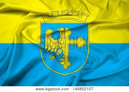Waving Flag Of Opole With Coat Of Arms, Poland