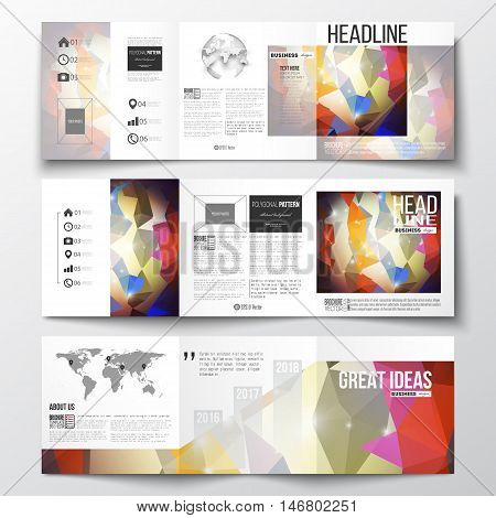 Vector set of tri-fold brochures, square design templates with element of world map and globe. Abstract colorful polygonal background, modern stylish triangle vector texture.
