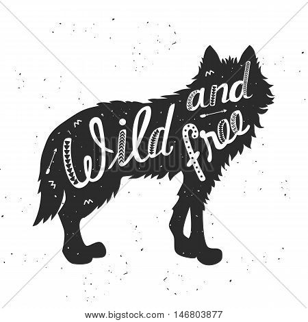 Silhouette of a wolf. Hand drawn typography poster, greeting card, for t-shirt design