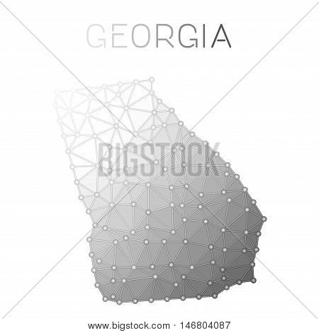 Georgia Polygonal Vector Map. Molecular Structure Us State Map Design. Network Connections Polygonal