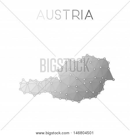Austria Polygonal Vector Map. Molecular Structure Country Map Design. Network Connections Polygonal
