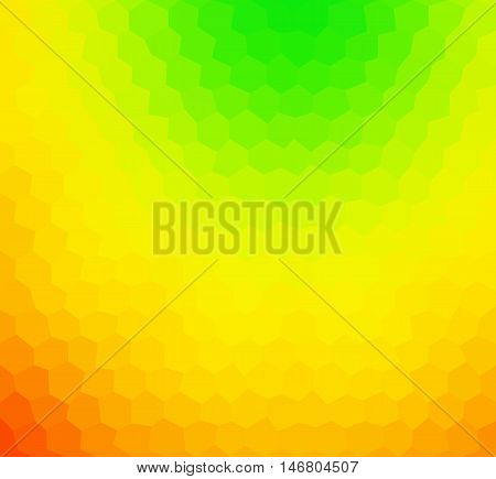 Abstract low polygonal - mosaic geometry hexagol fantasy background in colors of green yellow orange and red - part of spectrum rainbow