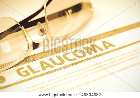 Diagnosis - Glaucoma. Medicine Concept with Blurred Text and Spectacles on Red Background. Selective Focus. 3D Rendering.